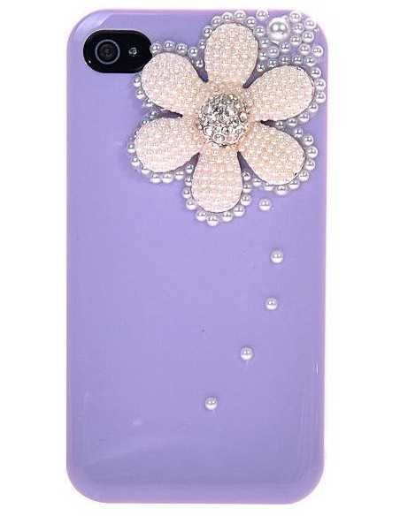 Coque iPhone 4 Fleur Luxe Mauve