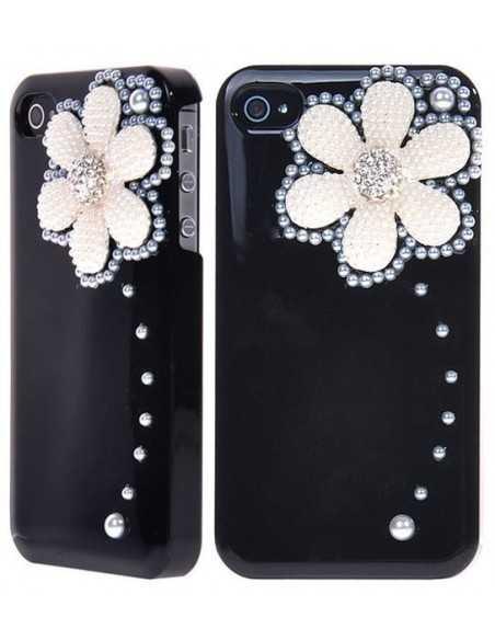 Coque iPhone 4 Fleur Luxe Noir