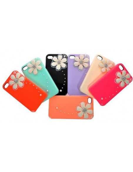 Coque iPhone 4 Fleur Luxe Rouge