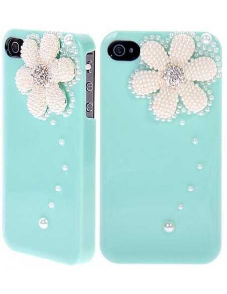 Coque iPhone 4 Fleur Luxe Vert