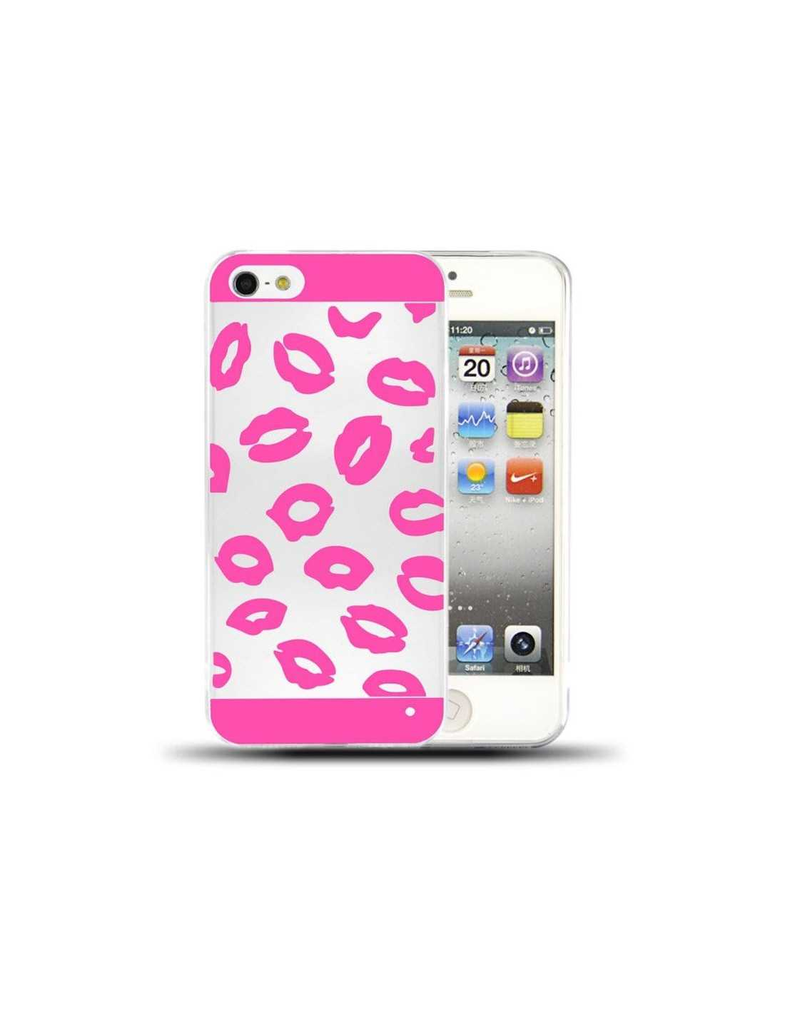 coque iphone 5s 5 bises rose
