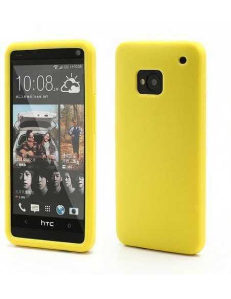 Coque HTC One M7 Silicone Matte jaune