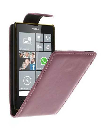 Etui Lumia 520 et lumia 525 simili cuir Rose
