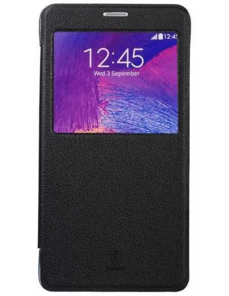 Etui Galaxy Note 4 Cuir Baseus avec fenetre Noir