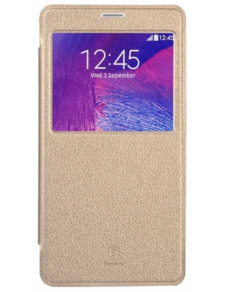 Etui Galaxy Note 4 Cuir Baseus avec fenetre Or