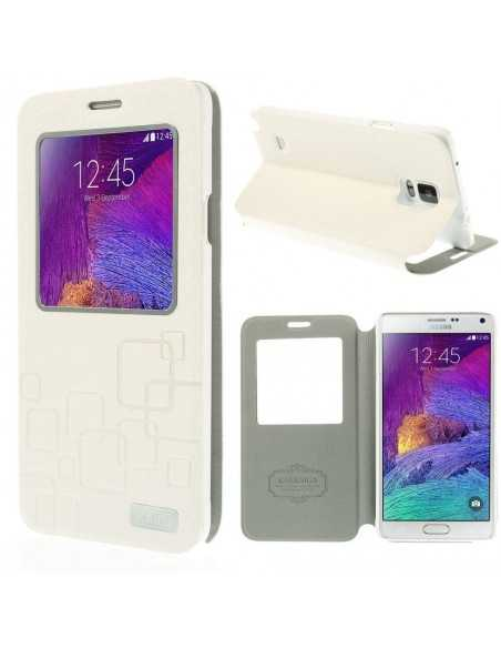 Etui Galaxy Note 4 Cuir avec fenetre Kakusiga Blanc