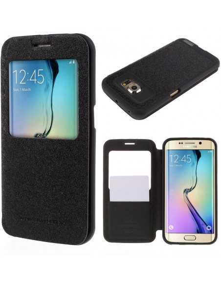 Etui Galaxy S6 Edge Cuir avec fenetre Mercury Noir
