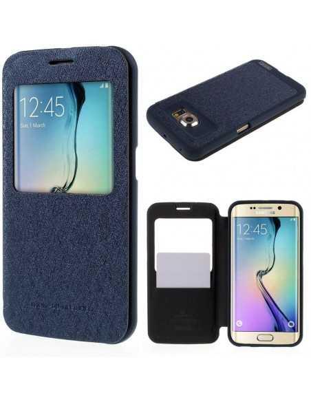 Etui Galaxy S6 Edge Cuir avec fenetre Mercury Bleu
