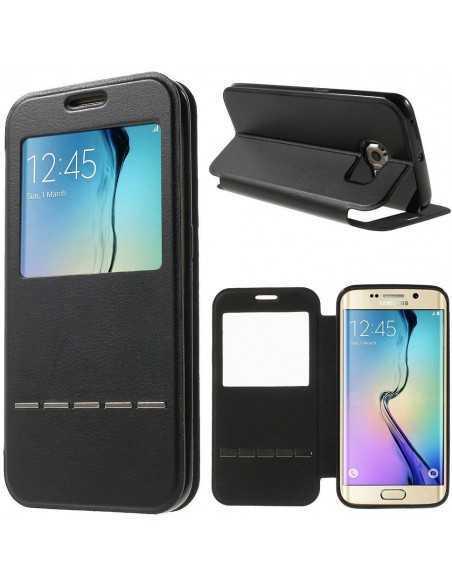 Etui Galaxy S6 Edge Slide avec fenetre Noir