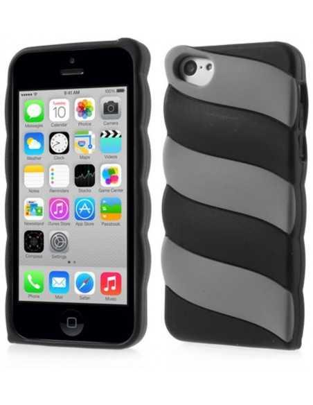 Coque iPhone 5c fantaisie - silicone Noir et Gris