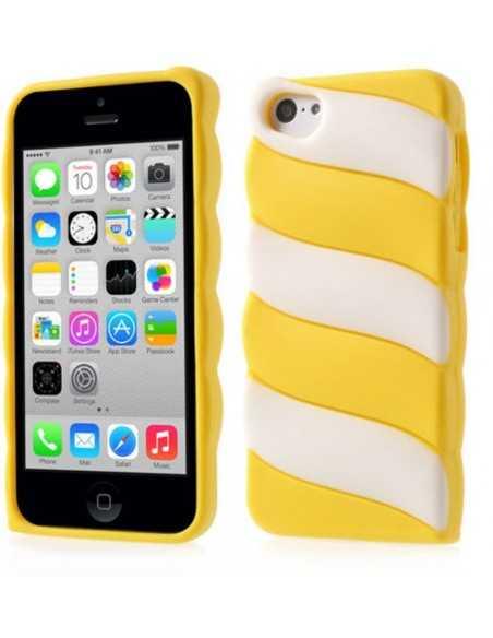 Coque iPhone 5c fantaisie - silicone Blanc Jaune