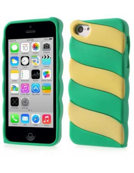 Coque iPhone 5c fantaisie - silicone Vert et Jaune