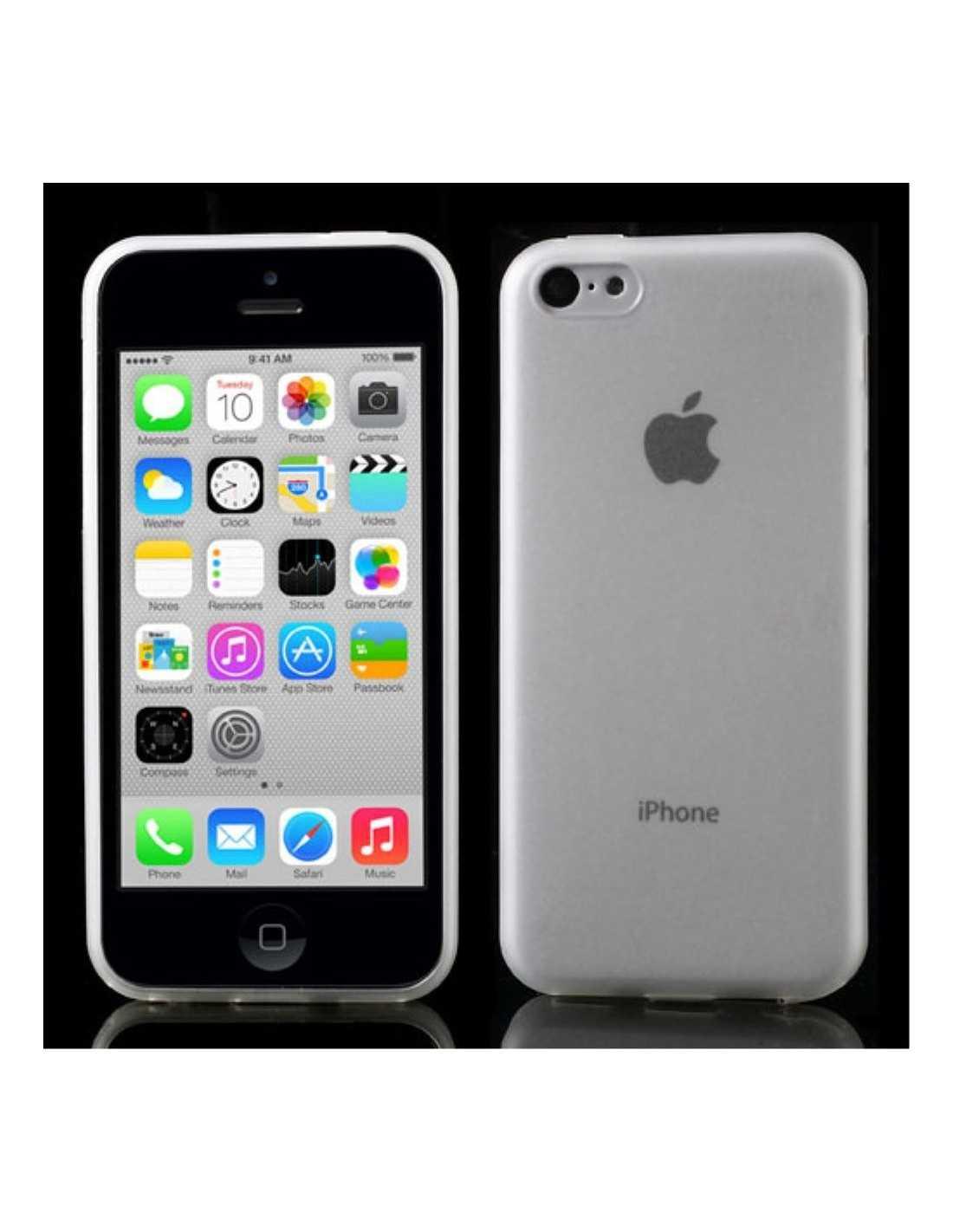 coque silicone iphone 5c ultrafine matte avec plug anti poussiere transparent