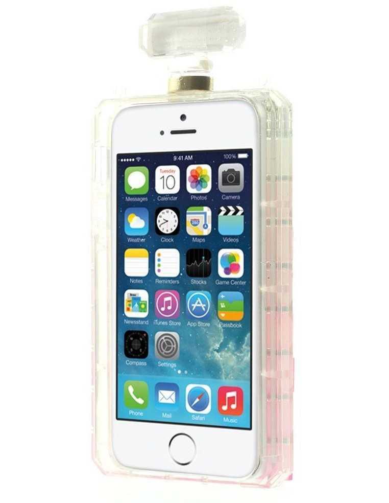 Coque iPhone 5S et 5 fantaisie Bouteille de Parfum Diamant avec chaine Rose et Blanc