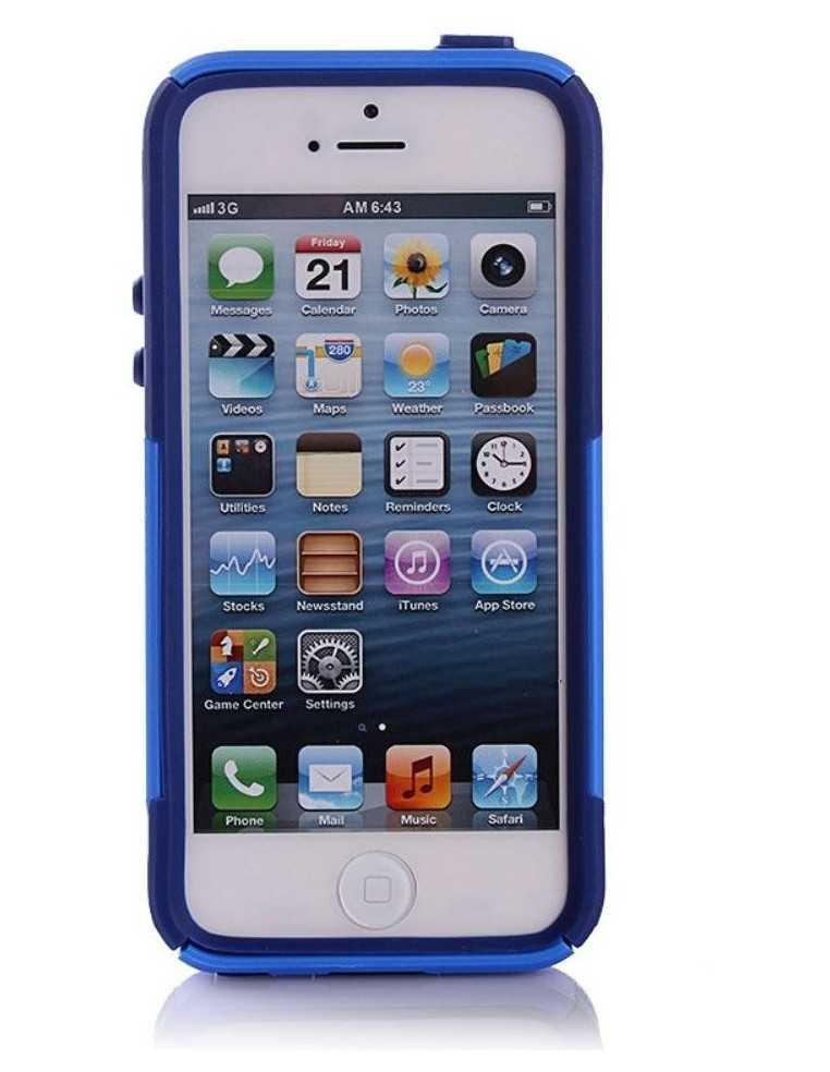 Coque iPhone 5S et 5 Silicone Hybrid résistante Bleu foncé