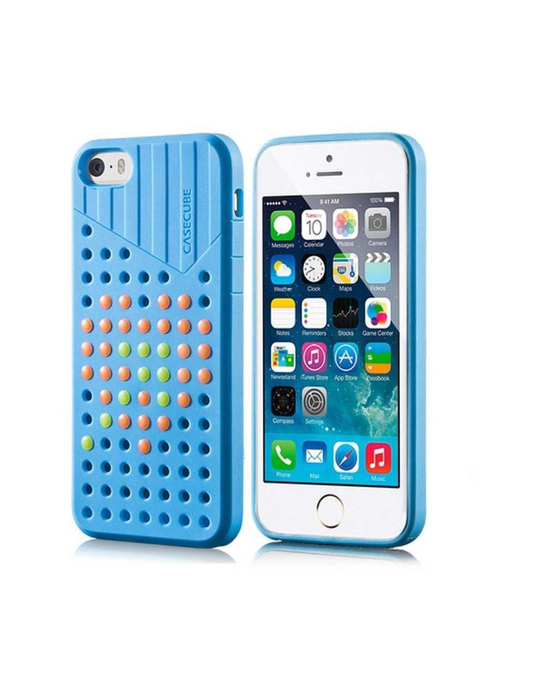 coque iphone 5s 5 fantaisie silicone points colores bleu