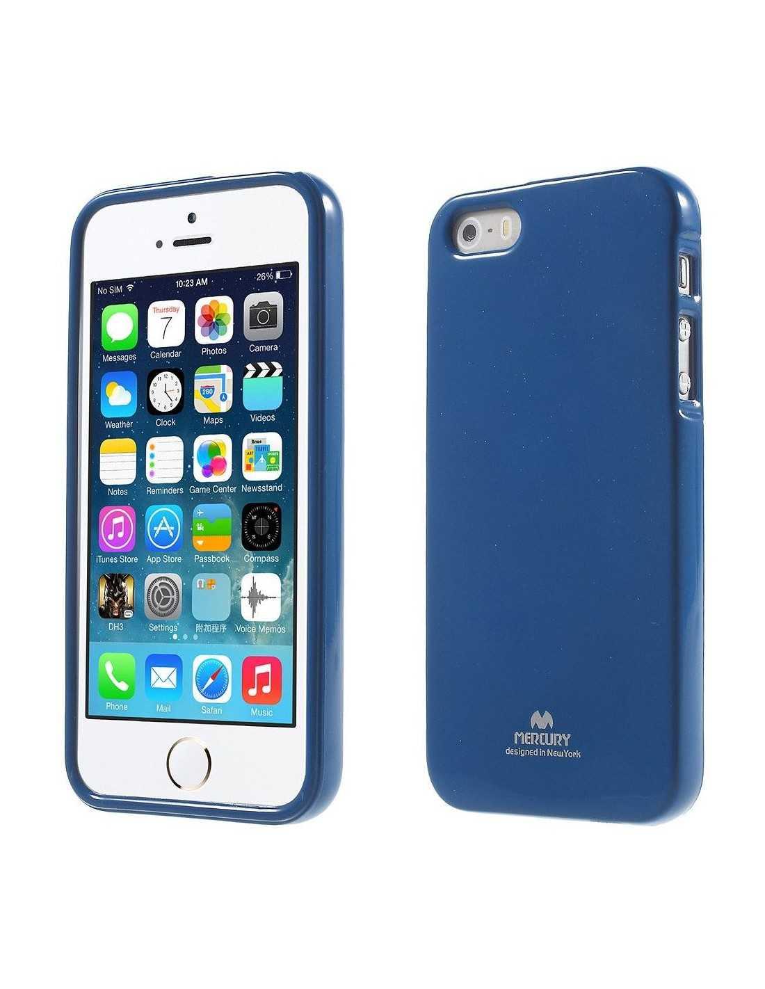 Coque Apple iPhone SE 5s 5 en silicone de Gel Mercury Bleu foncé
