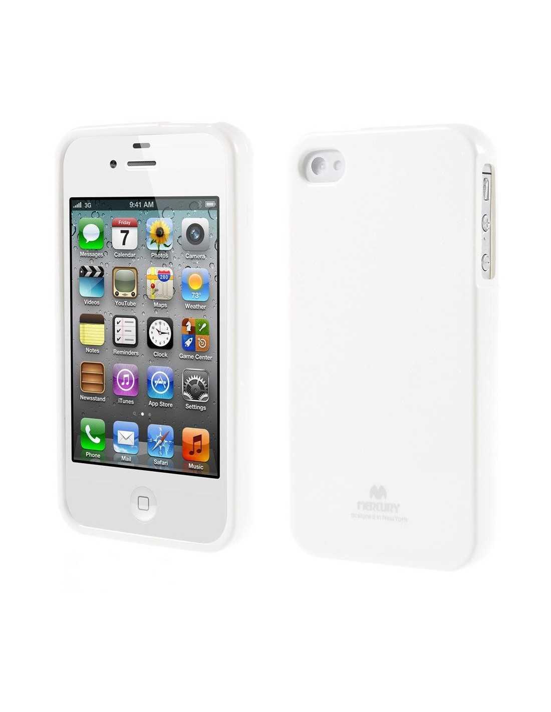 Coque Apple iPhone 4 et 4S Gel Mercuryen silicone Blanc