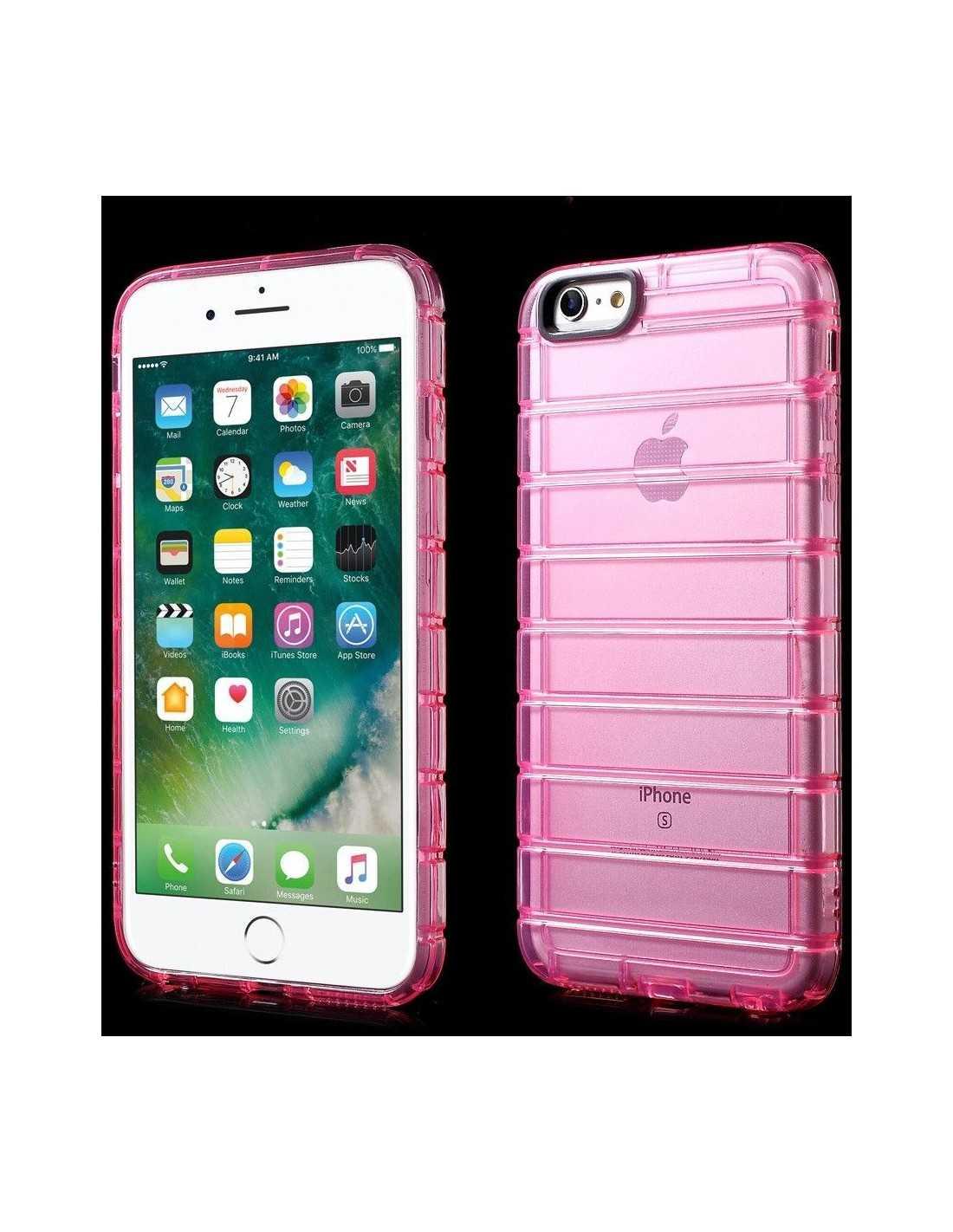 Coque silicone antichoc stripes iPhone 6 - 6S Fushia