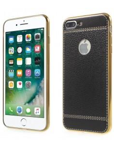 Coque iPhone 8 Plus et 7 Plus style cuir plaqué Noir