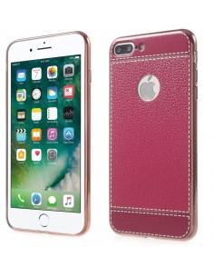 Coque iPhone 8 Plus et 7 Plus style cuir plaqué Fushia
