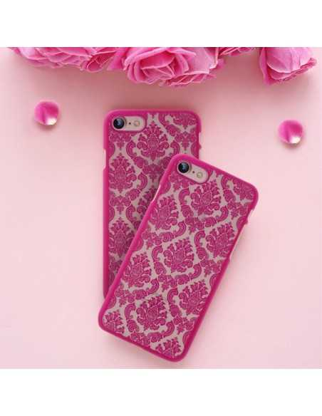 Coque iPhone 8 et iPhone rigide fleurs damas Fushia