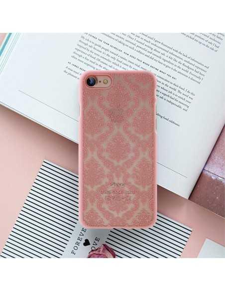 Coque iPhone 8 et iPhone rigide fleurs damas Rose