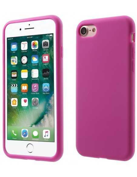 Coque iPhone 7 et iPhone 8 silicone souple matte Fushia