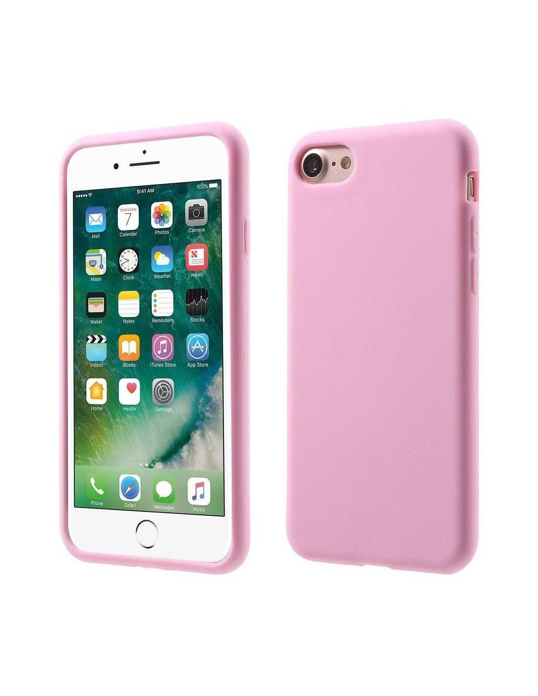 Coque Apple iPhone 7 et iPhone 8 silicone souple matte Rose