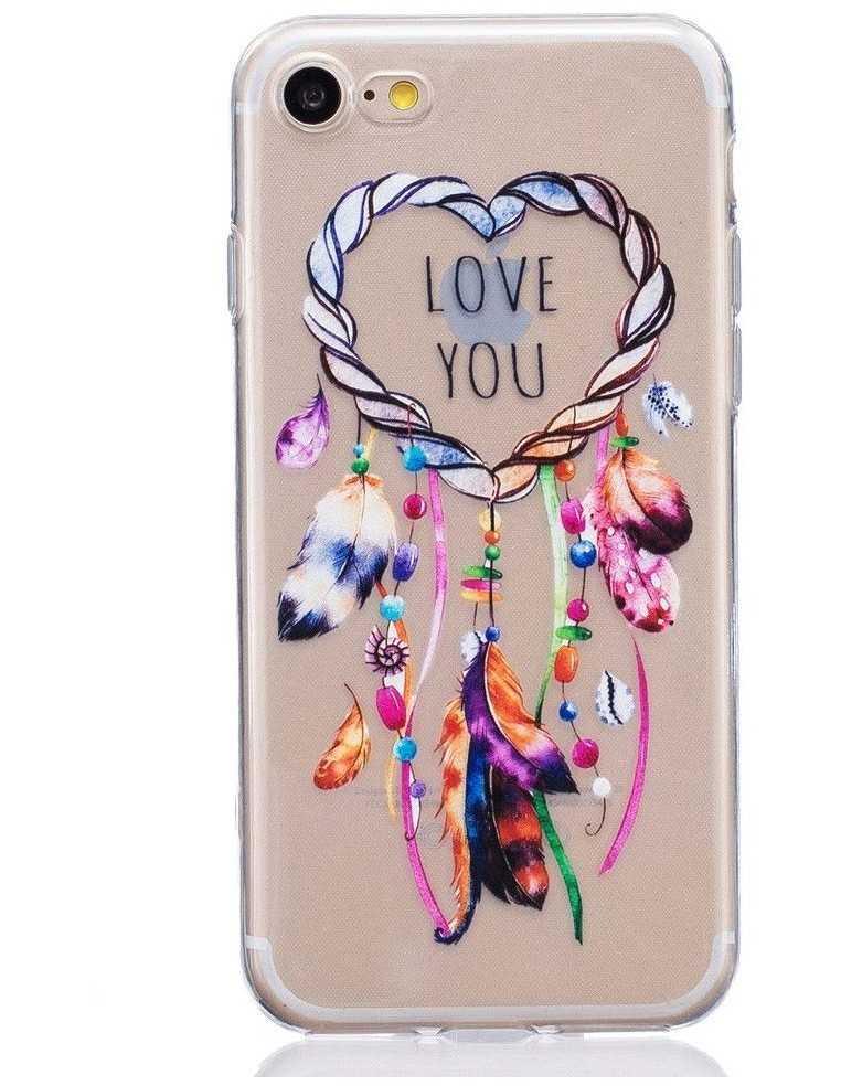 Coque iPhone 7 et iPhone 8 silicone mandala love you Transparent