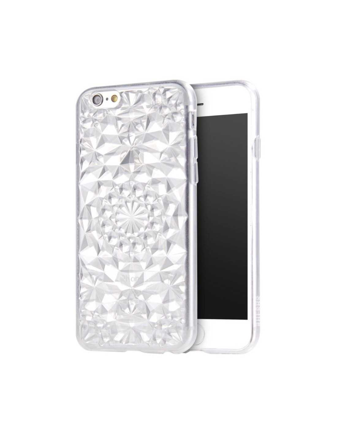 coque iphone 6s 6 silicone 3d diamants blanc