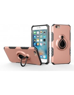 Coque iPhone 6 6s silicone et Metal avec anneau Or