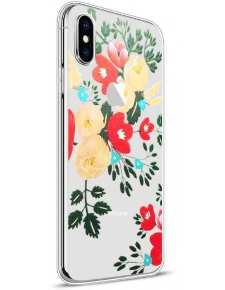 Coque iPhone X silicone fantaisie Flowers