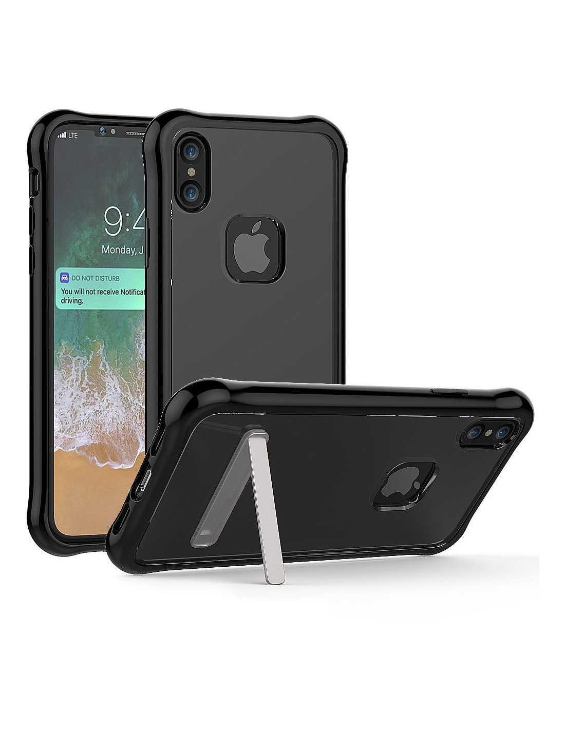 coque iphone x antichoc silicone avec support noir