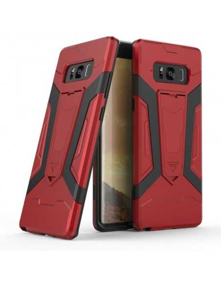 Coque Galaxy Note 8 Silicone Hybrid Antichoc avec support Rouge