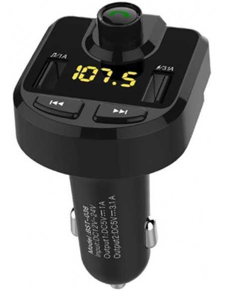Transmetteur FM Bluetooth double USB chargeur voiture BT36 Noir