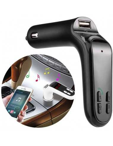 Transmetteur FM Bluetooth USB avec emplacement carte Micro SD Chargeur Voiture iPhone Samsung S7