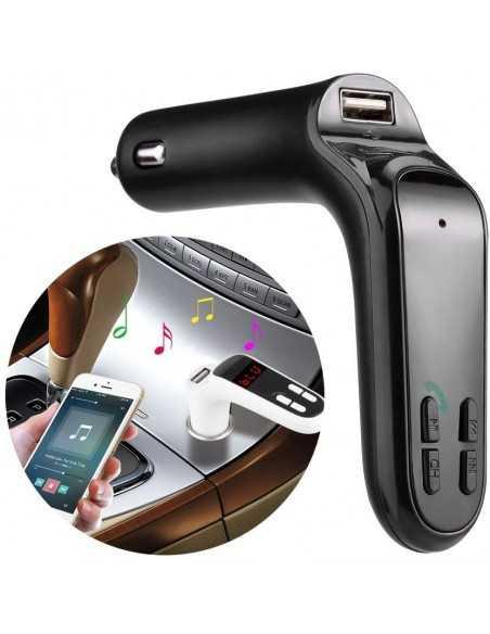 Transmetteur FM Bluetooth USB, micro SD, chargeur voiture Noir