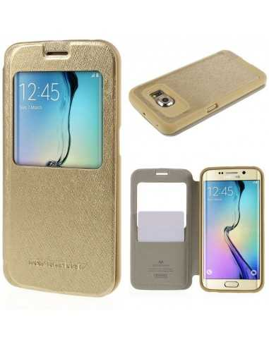 Etui Galaxy S6 Edge Cuir avec fenetre Mercury