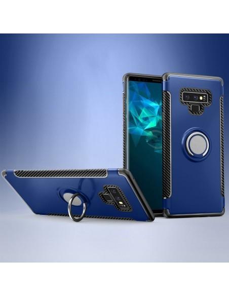 Coque de protection Galaxy Note 9 Style Fibre de carbone Bleu foncé
