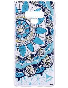 Coque silicone Galaxy Note 9 Diamants 3D Blue flower