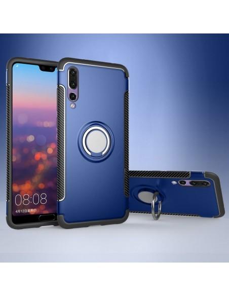 Coque antichoc Huawei P20 Pro style fibre de carbone Bleu foncé
