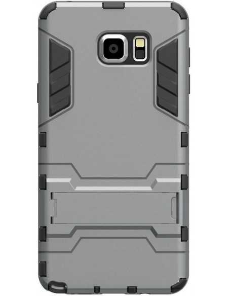 Coque antichoc Galaxy Note 5 Hybride avec support Gris
