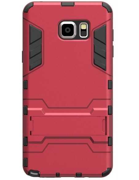Coque antichoc Galaxy Note 5 Hybride avec support Rouge
