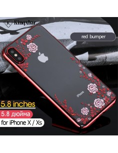 Coque silicone pour iPhone XS avec pierres Swarovski