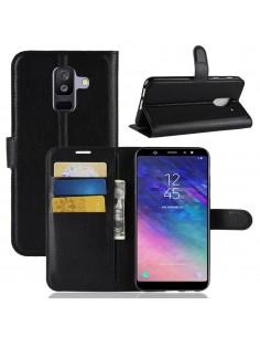 Etui Samsung portefeuille pour Galaxy A+ 2018 Litchi avec rangement cartes