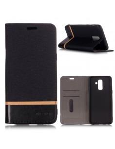 Etui Samsung portefeuille pour Galaxy J8 2018 matière extérieure en tissus