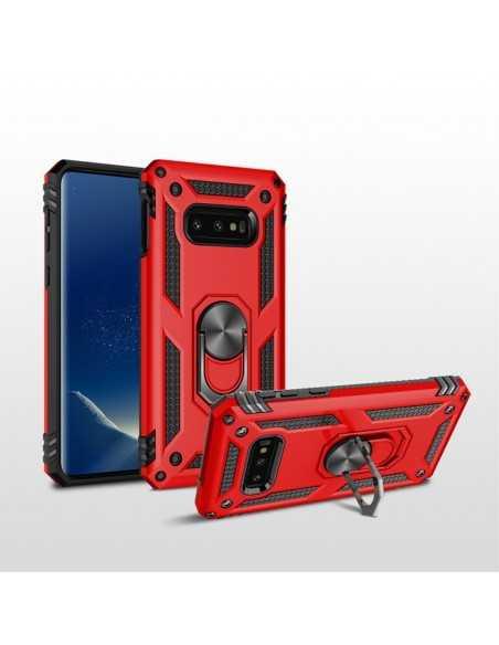 Coque antichoc Samsung Galaxy S10E avec partie en metal support voiture Rouge