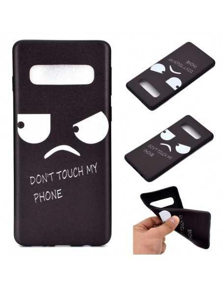 Coque silicone fantaisie Samsung Galaxy S10 - Angry face Noir