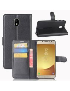 Etui Samsung portefeuille pour Galaxy J7 2017 avec rangements pour cartes - Litchi